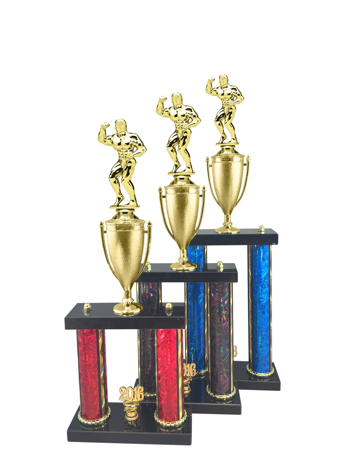Male Body Building Trophy Available in 11 Color & 3 Size Options
