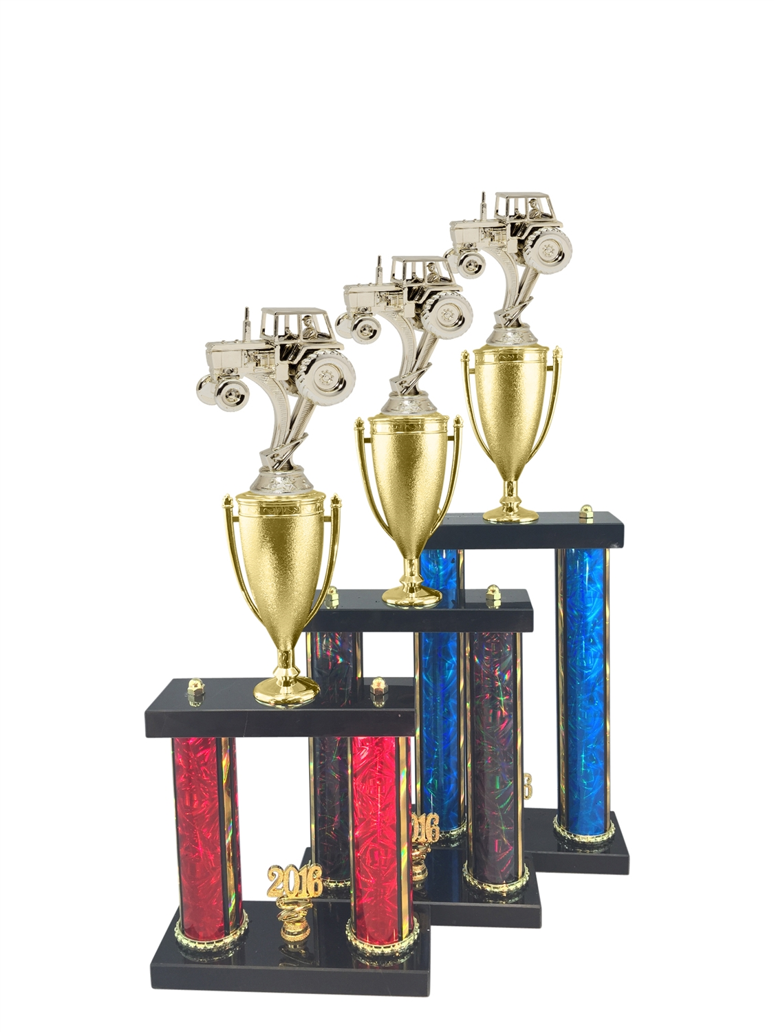 2 Post Tractor Trophy in 11 Color & 3 Size Options