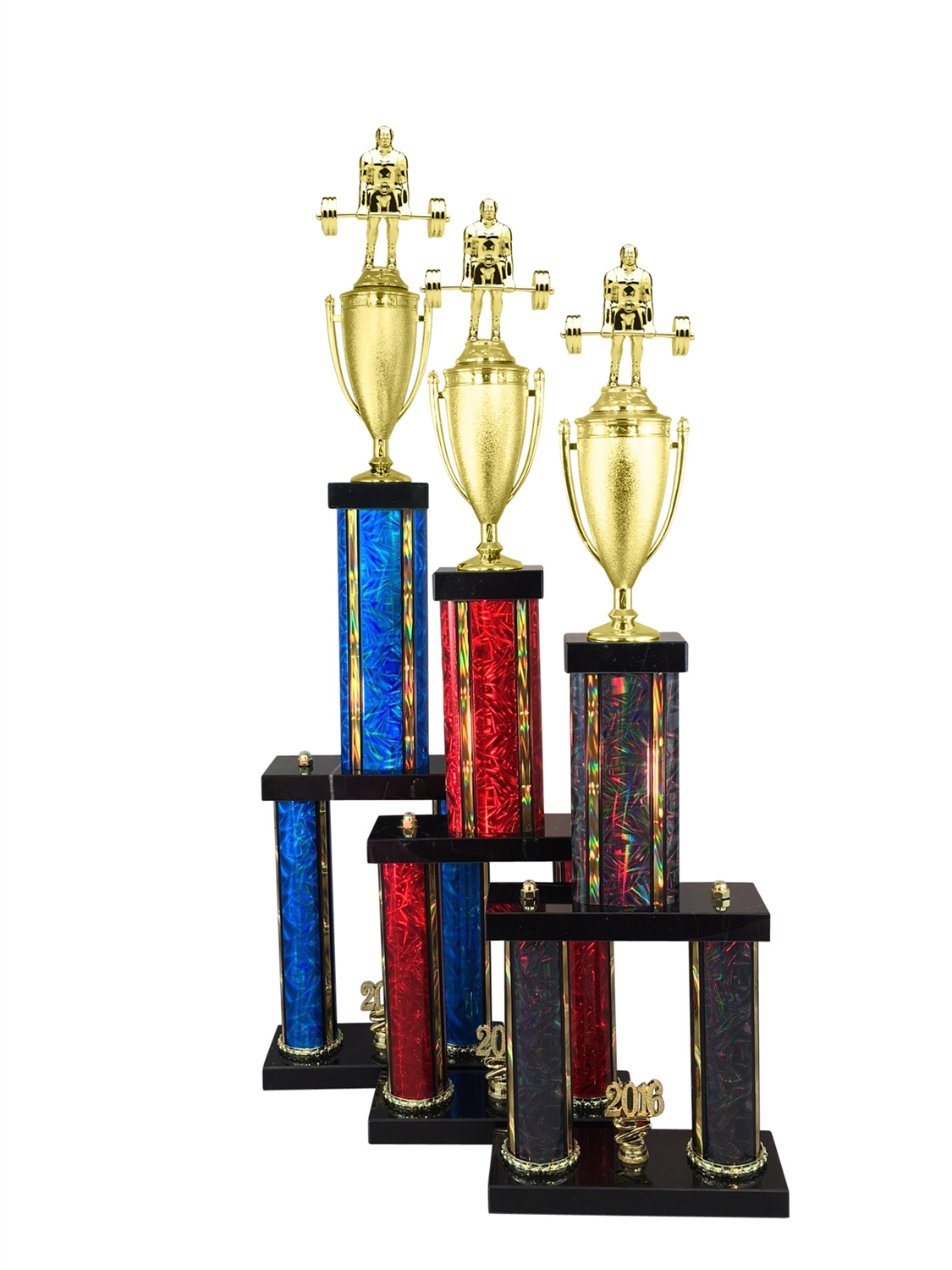 2 Column Deadlift Weightlifter Trophy in 11 Color & 6 Size Options