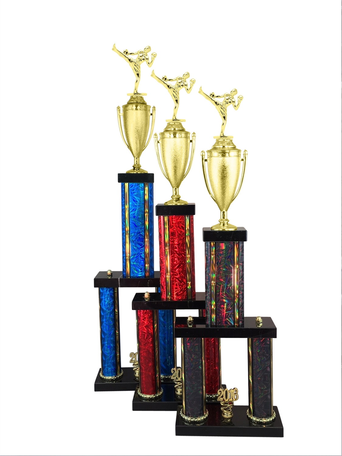 2 Column Male Kick Boxing Trophy in 11 Color & 6 Size Options