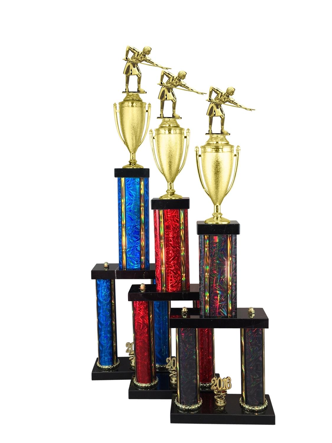 2 Column Female Billiards - Pool Trophy in 11 Color & 6 Size Options