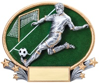 "7""W x 5""H 3D Full Color Resin Male Soccer Oval"