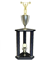 3 Post Weightlifting Trophy in 11 colors & 3 sizes