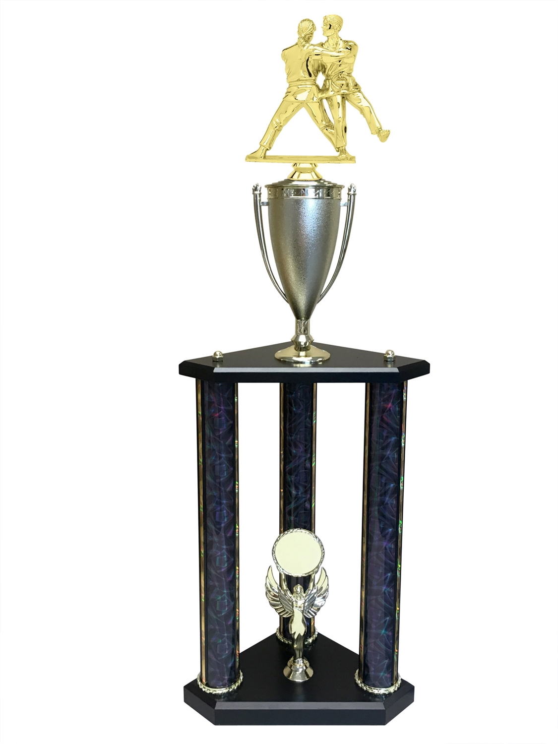3 Post Female Judo Trophy in 11 colors & 3 sizes