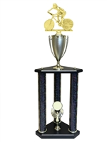 3 Post Female Cycling Trophy in 3 Sizes - in 11 colors & 3 sizes