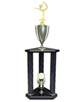 3 Post Female Gymnastics Trophy in 11 colors & 3 sizes