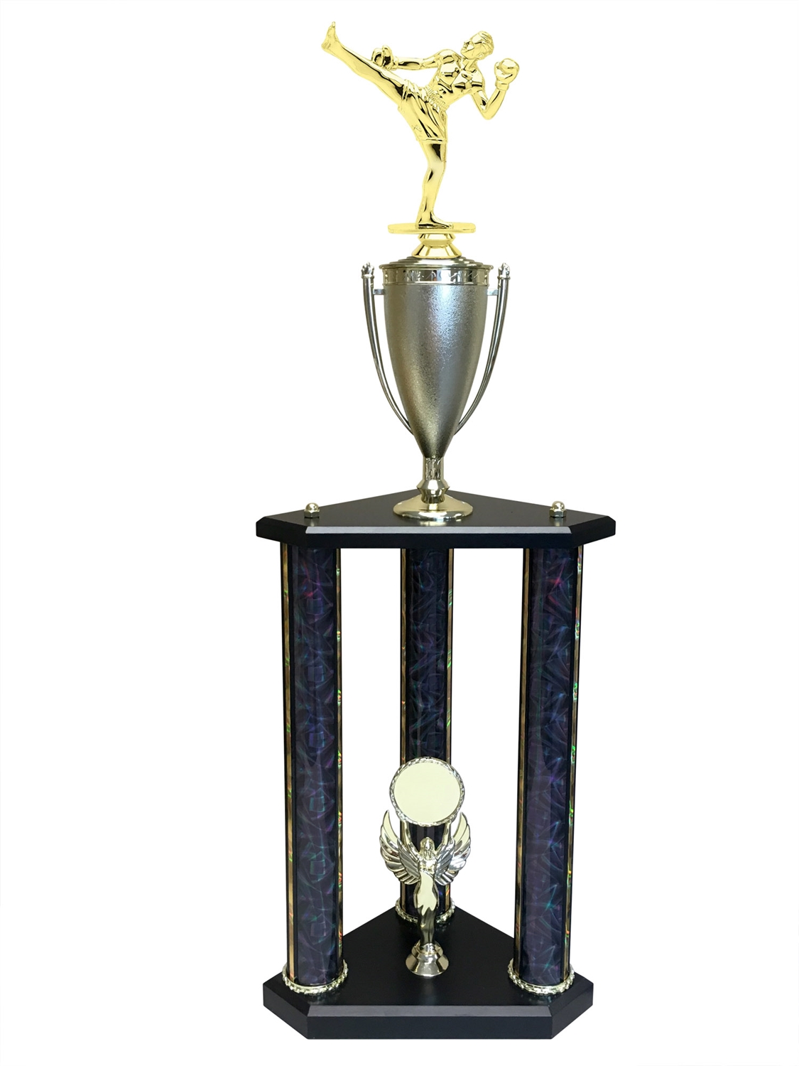 3 Post Male Kick Boxing Trophy in 11 colors & 3 sizes