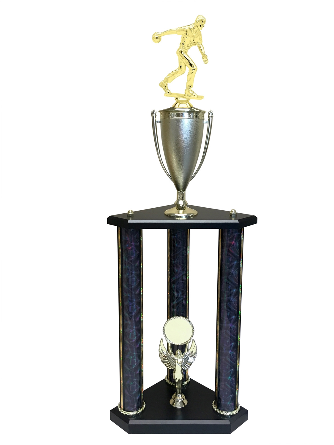 Male Candlestick Bowling Trophy Available in 11 colors & 3 sizes