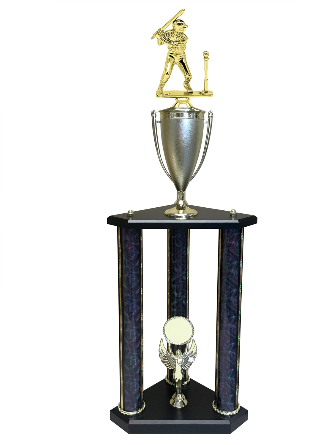 3 Post Male T-Ball Trophy in 11 colors & 3 sizes