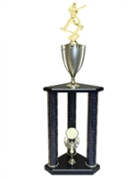 3 Post Baseball Trophy in 11 colors & 3 sizes