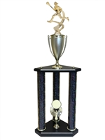 3 Post Female Lacrosse Trophy in 11 colors & 3 sizes