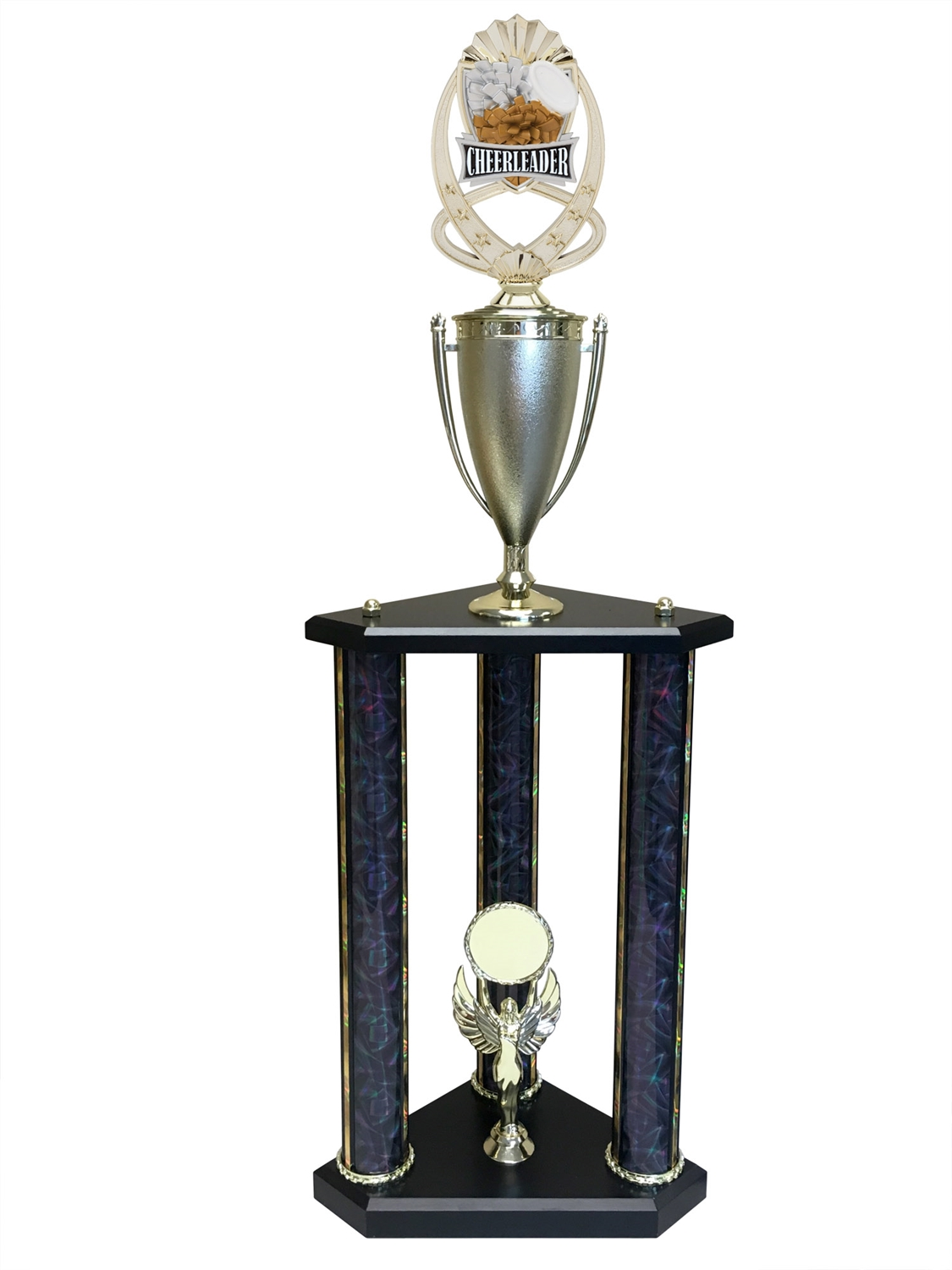3 Post Cheerleading Trophy in 11 colors & 3 sizes