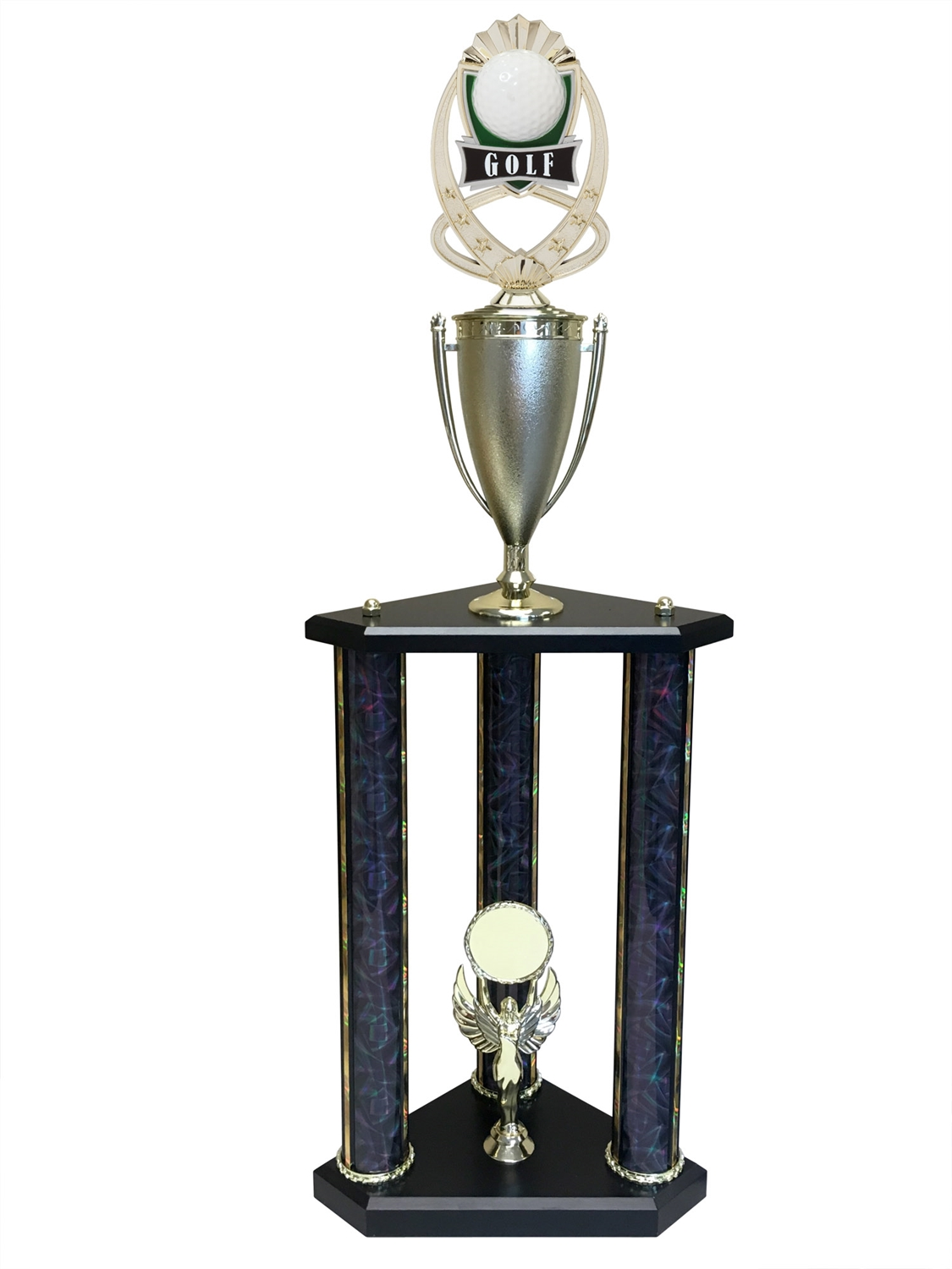 3 Post Golf Trophy in 11 colors & 3 sizes