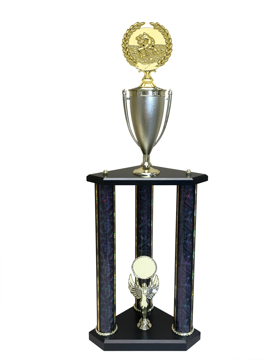 3 Post Wrestling Trophy in 11 colors & 3 sizes