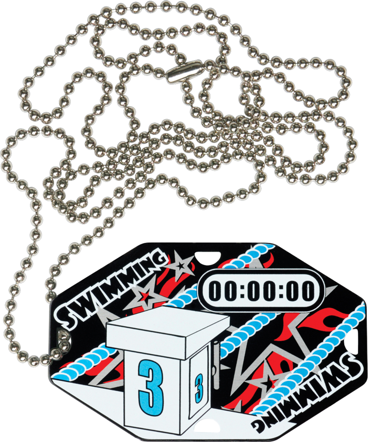"2-1/2"" x 1-1/2"" Swimming Dog Tag w/Chain 41040-G"