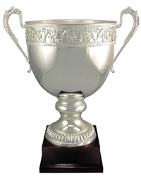 Silver Plated Italian Trophy Cup Scroll Design