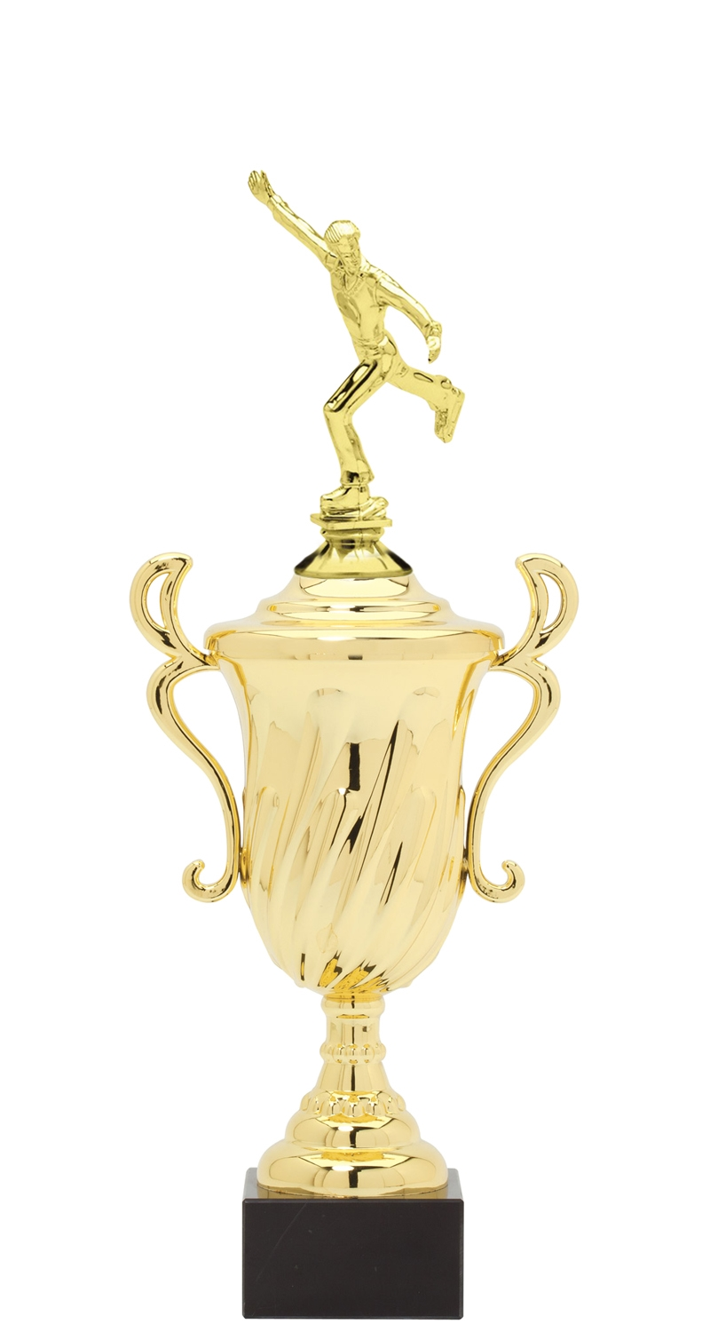 Male Ice Skating Plastic Loving Cup Trophy on Marble Base (3 - Sizes)