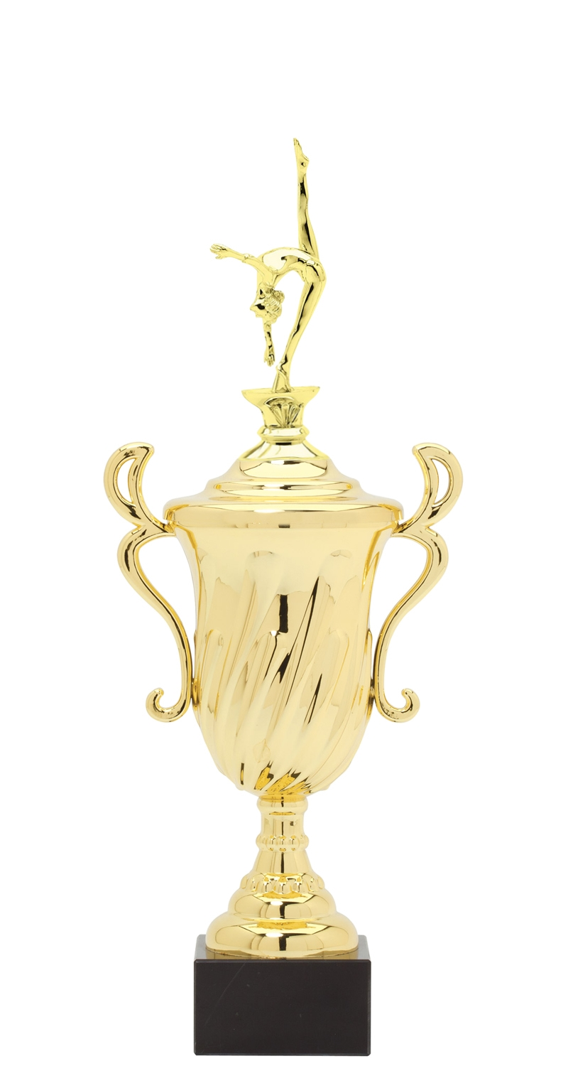 Female Gymnastics Plastic Loving Cup Trophy on Marble Base (3 - Sizes)