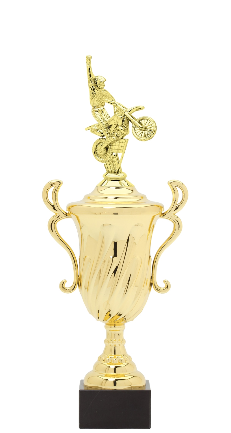 Motocross Plastic Loving Cup Trophy on Marble Base (3 - Sizes)