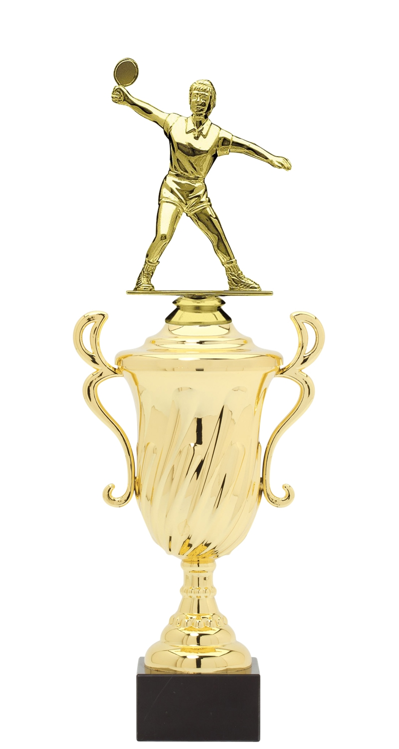 Female Ping Pong Trophy Cup on synthetic base in (3 - Sizes)