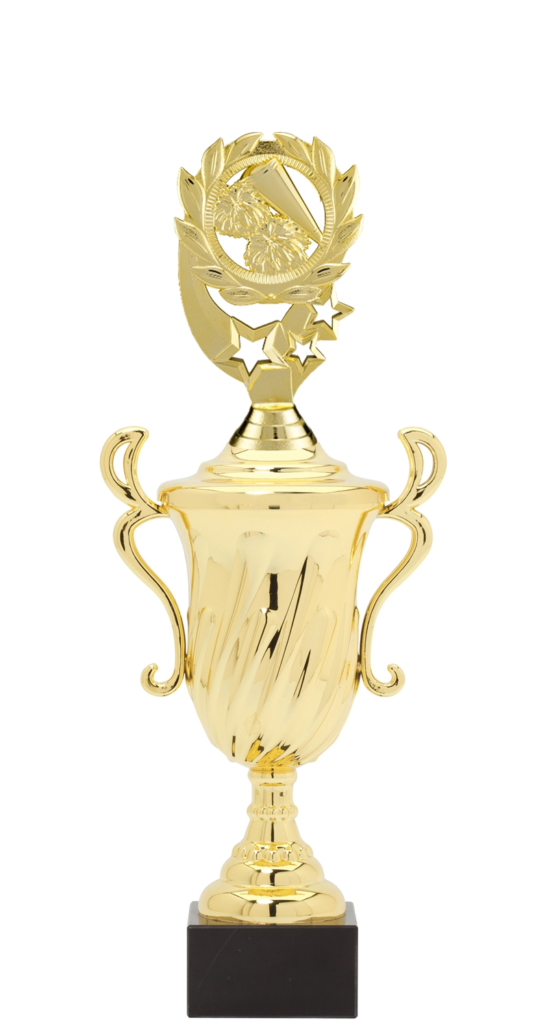 Wreath Cheerleading Plastic Loving Cup Trophy on Marble Base (3 - Sizes)