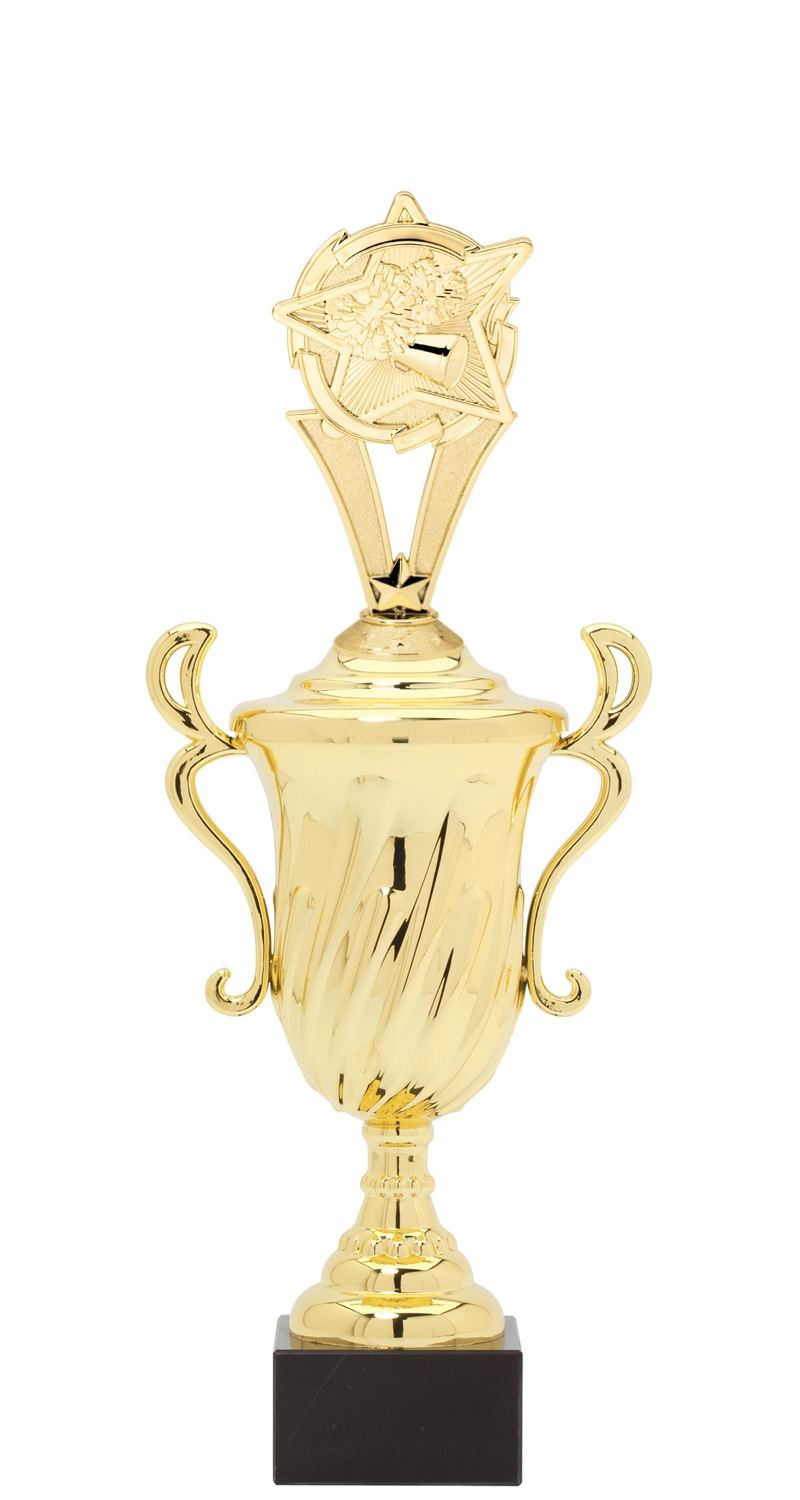 Star Cheerleading Plastic Loving Cup Trophy on Marble Base (3 - Sizes)