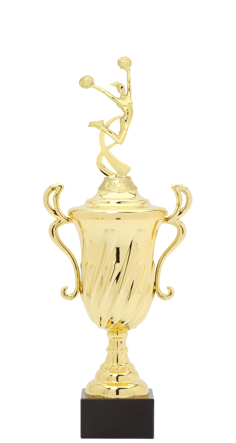 Cheerleading Plastic Loving Cup Trophy on Marble Base (3 - Sizes)