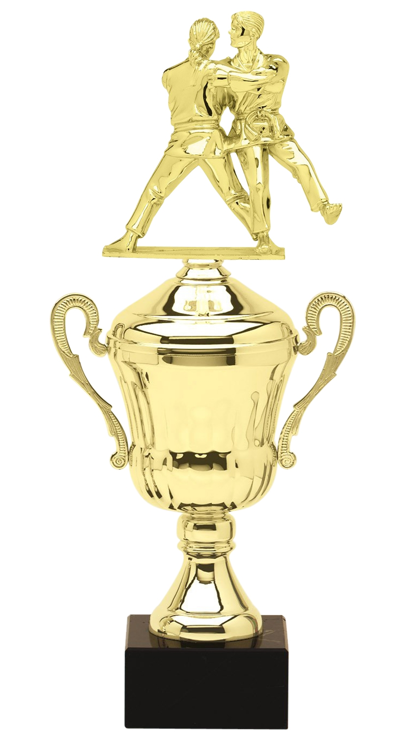 Metal Coed Judo Trophy Cup on Marble Base in (3 - Sizes)