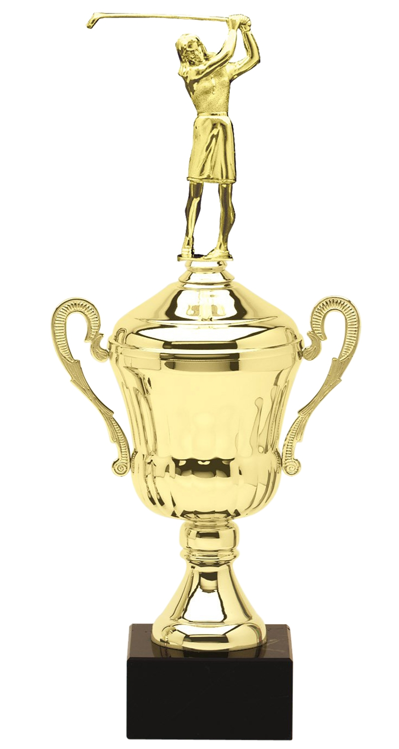 Metal Female Golf Trophy Cup on Marble Base in (3 - Sizes)