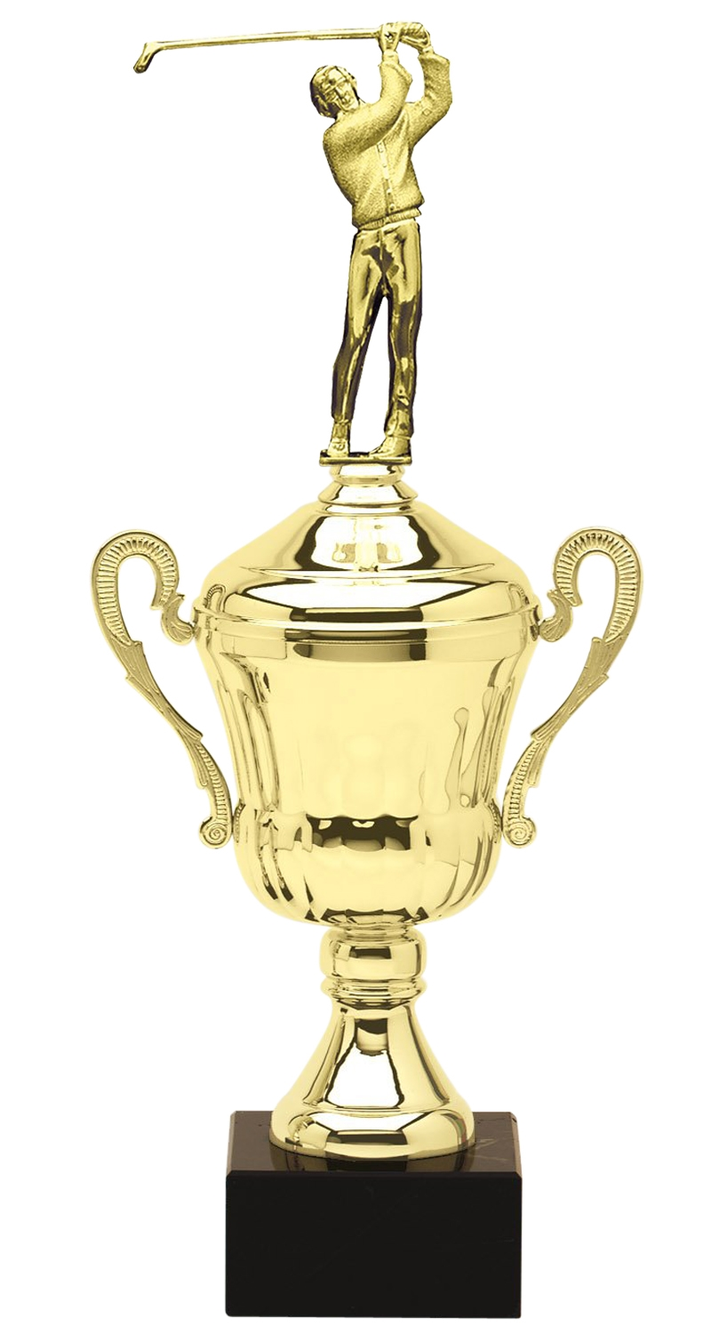 Metal Male Golf Trophy Cup on Marble Base in (3 - Sizes)