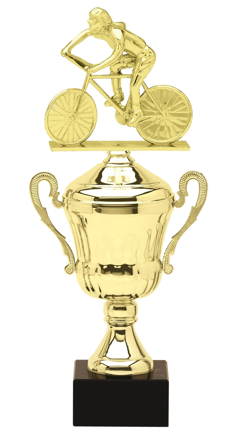 Metal Female Cycling Trophy Cup on Marble Base in (3 - Sizes)