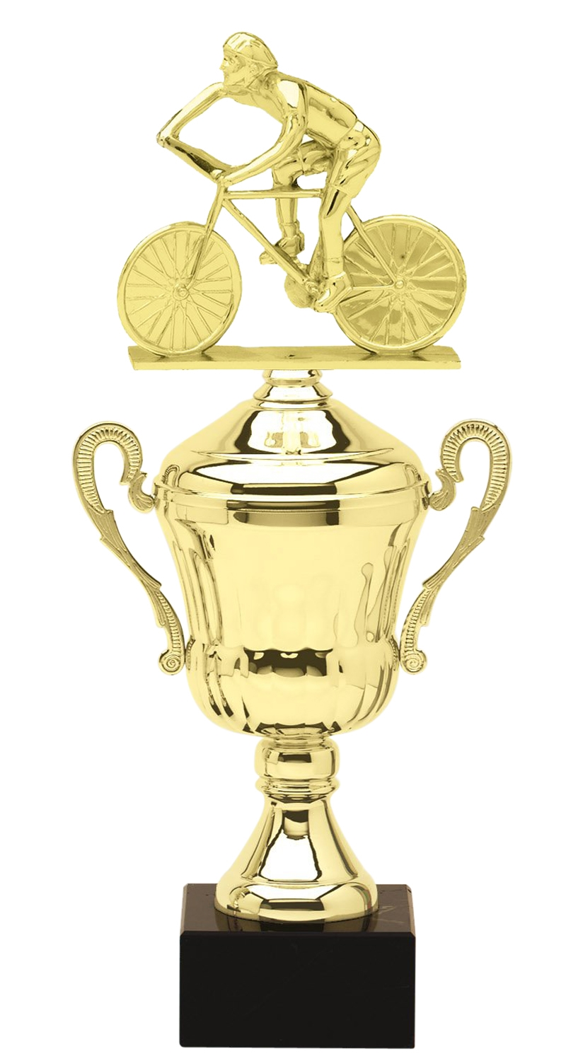 Metal Male Cycling Trophy Cup on Marble Base in (3 - Sizes)