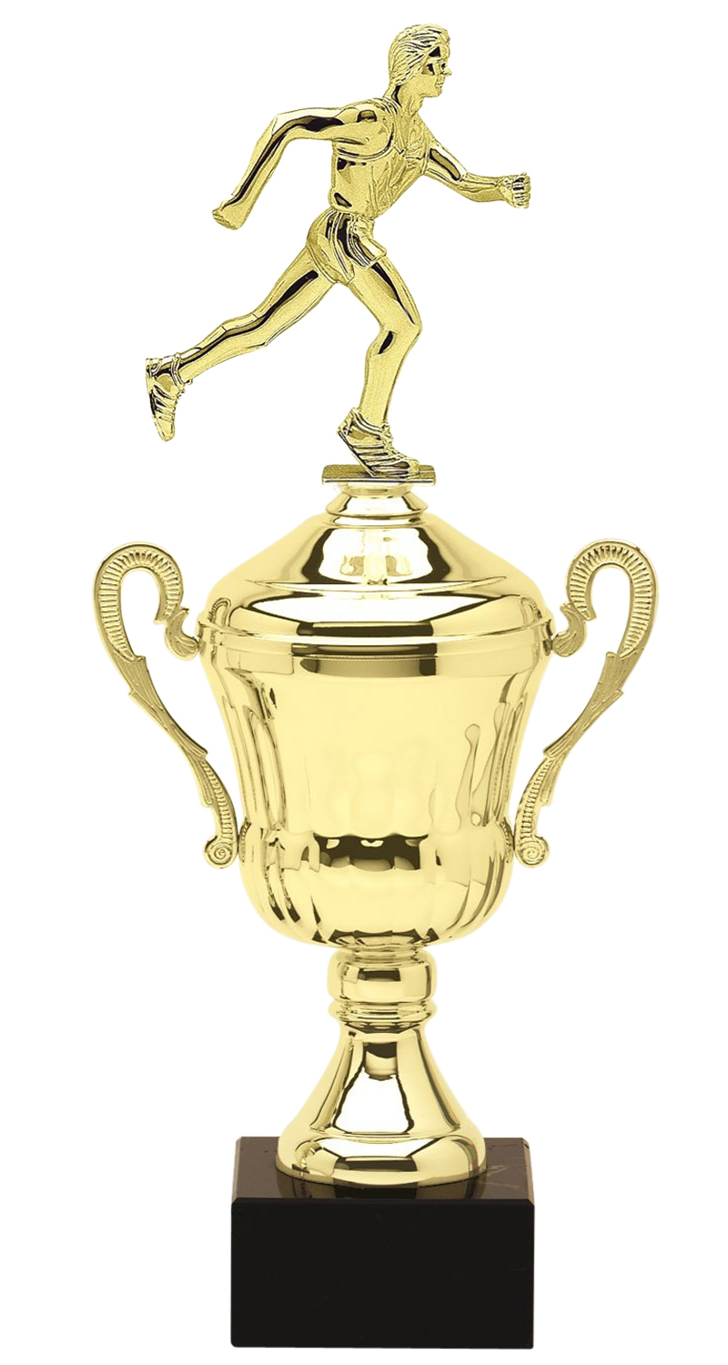 Metal Male Runner Trophy Cup on Marble Base in (3 - Sizes)