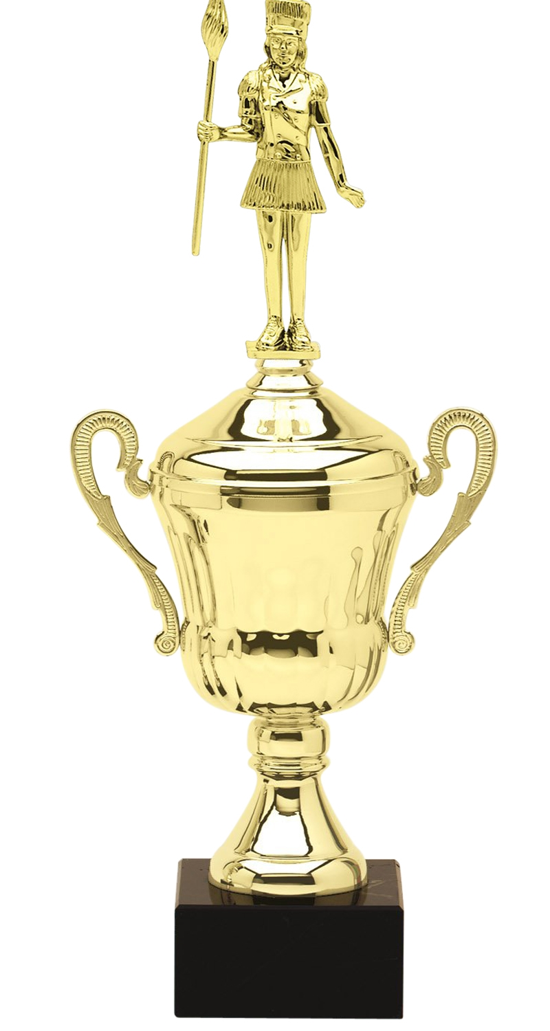 Metal Majorette Trophy Cup on Marble Base in (3 - Sizes)