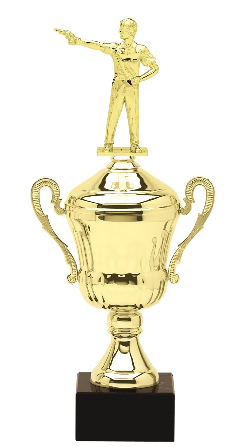 Metal Pistol Shooting Trophy Cup on Marble Base in (3 - Sizes)