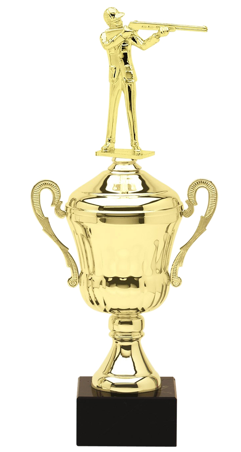 Metal Shotgun Shooter Trophy Cup on Marble Base in (3 - Sizes)