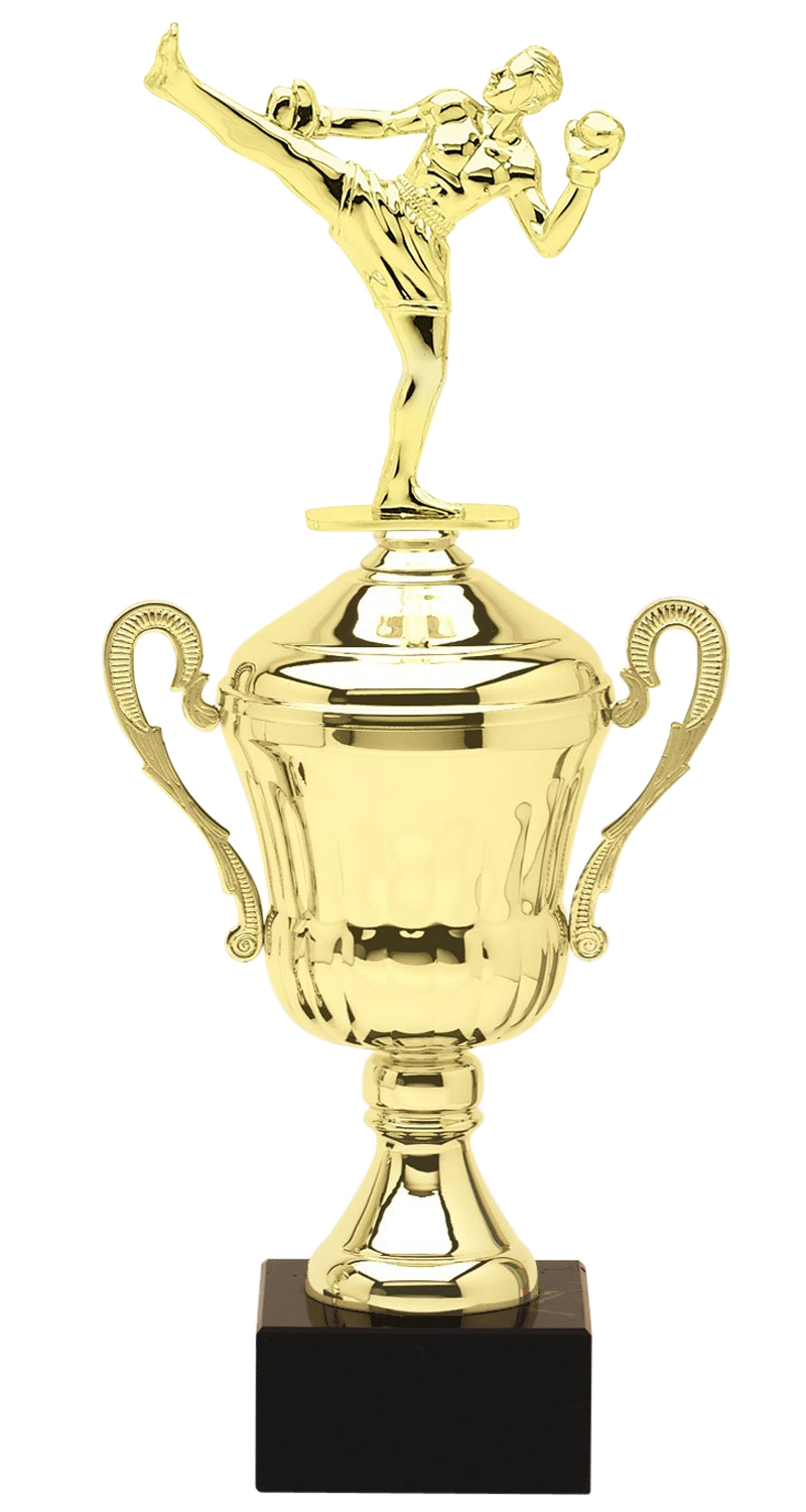 Metal Kick Boxing Trophy Cup on Marble Base in (3 - Sizes)
