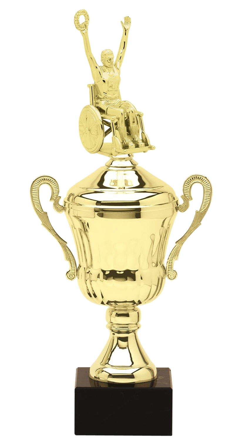 Metal Wheelchair Champion Trophy Cup on Marble Base in (3 - Sizes)