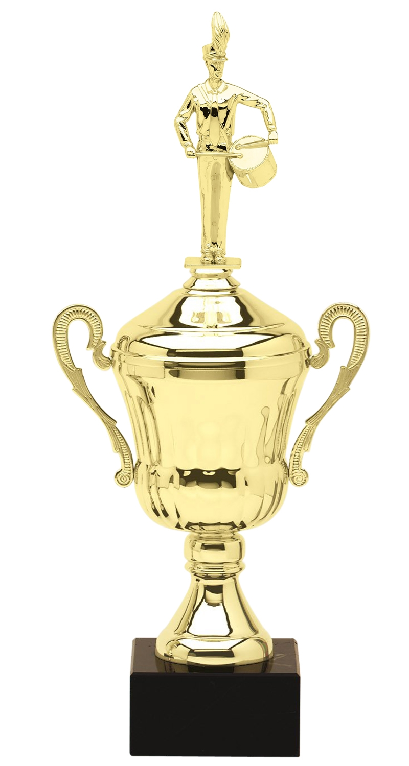 Metal Marching Band Drummer Trophy Cup on Marble Base in (3 - Sizes)