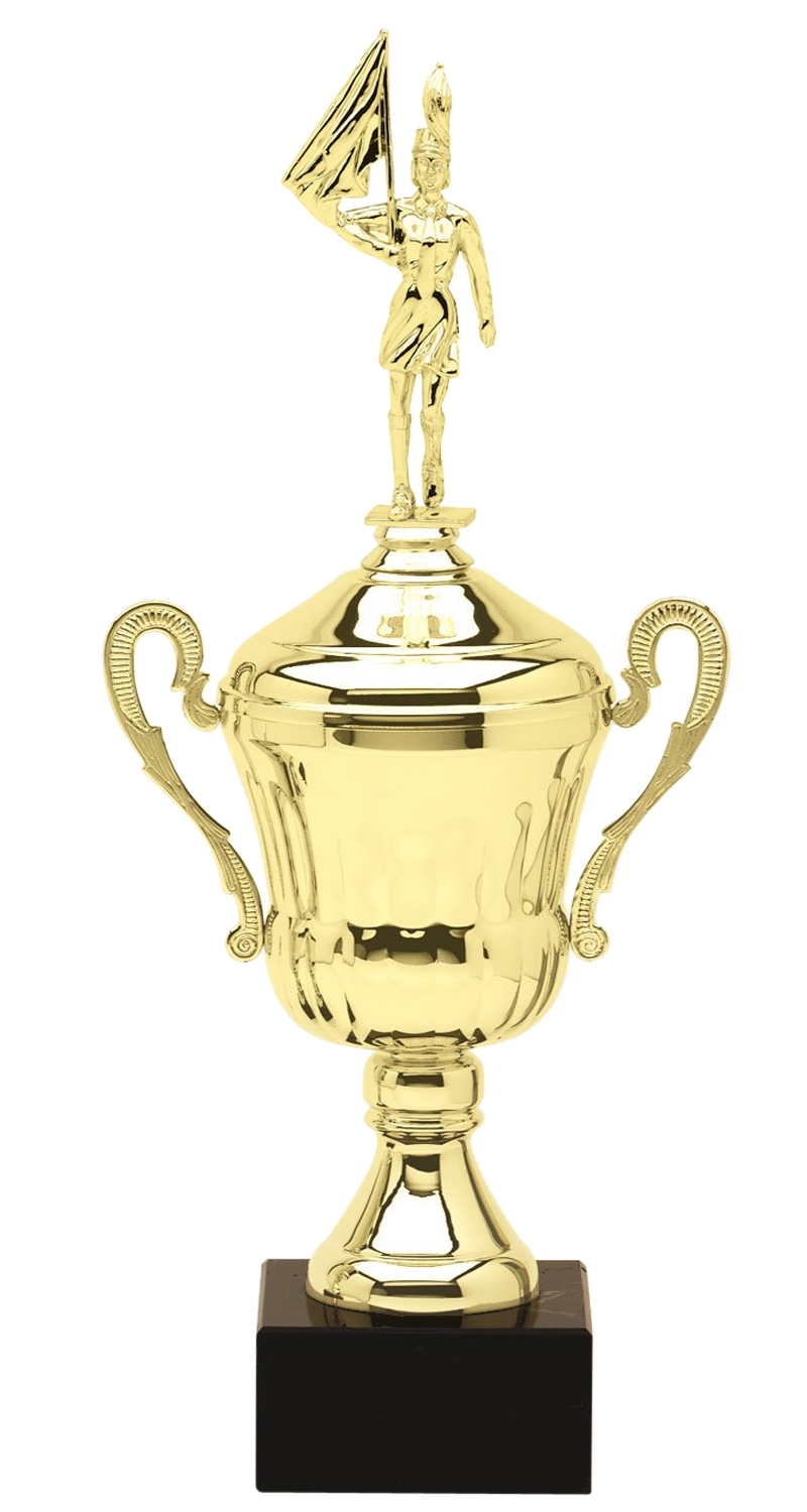 Metal Female Marching Band Trophy Cup on Marble Base in (3 - Sizes)