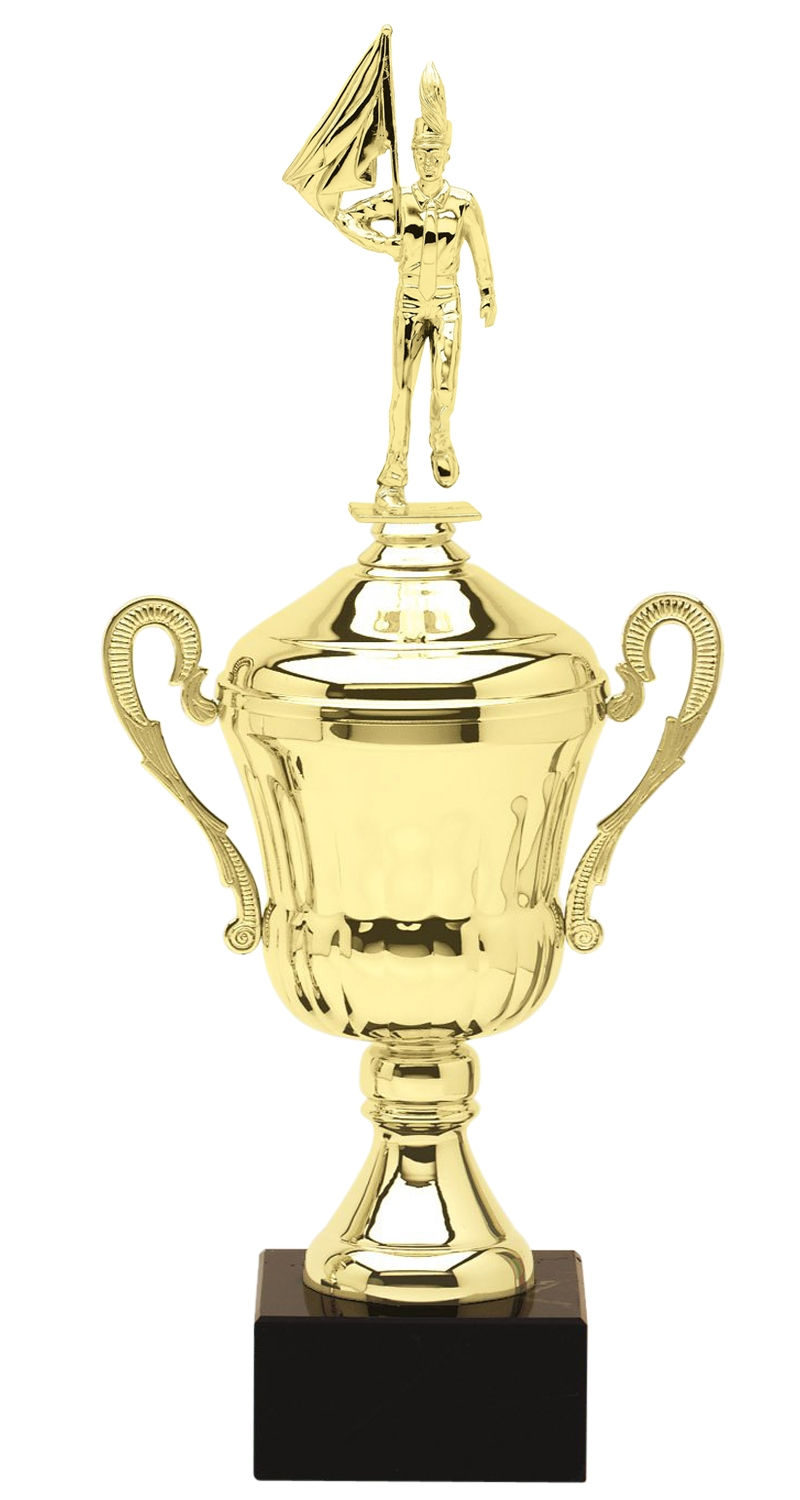 Metal Male Marching Band Trophy Cup on Marble Base in (3 - Sizes)