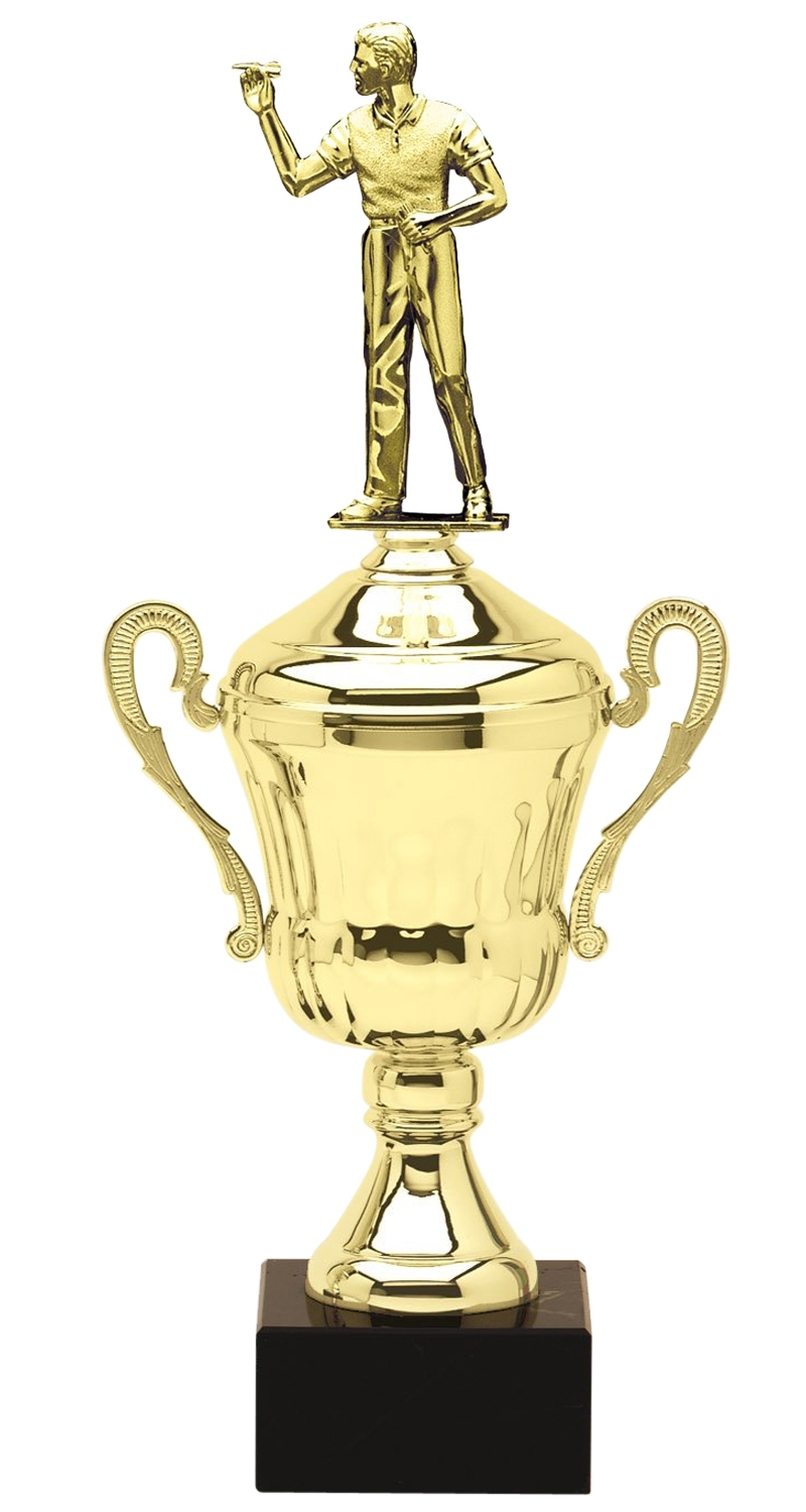 Metal Male Darts Trophy Cup on Marble Base in (3 - Sizes)
