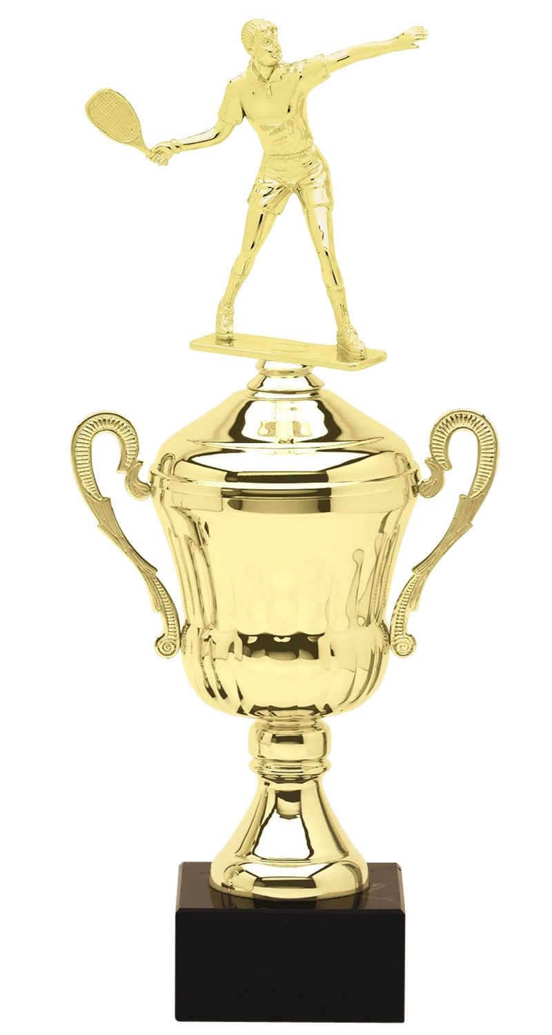 Metal Female Racquetball Trophy Cup on Marble Base in (3 - Sizes)