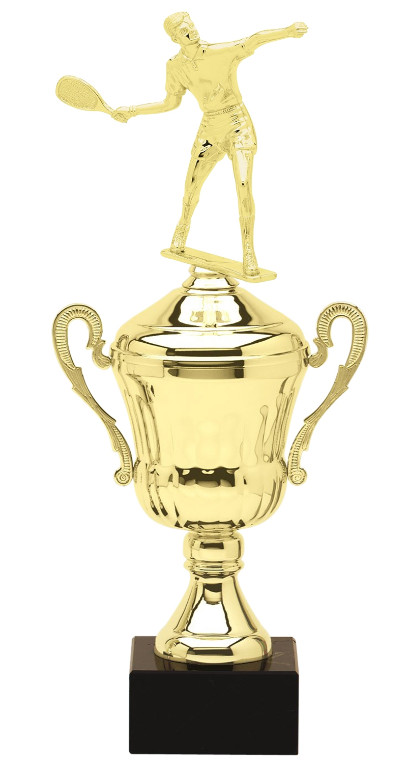 Metal Male Racquetball Trophy Cup on Marble Base in (3 - Sizes)