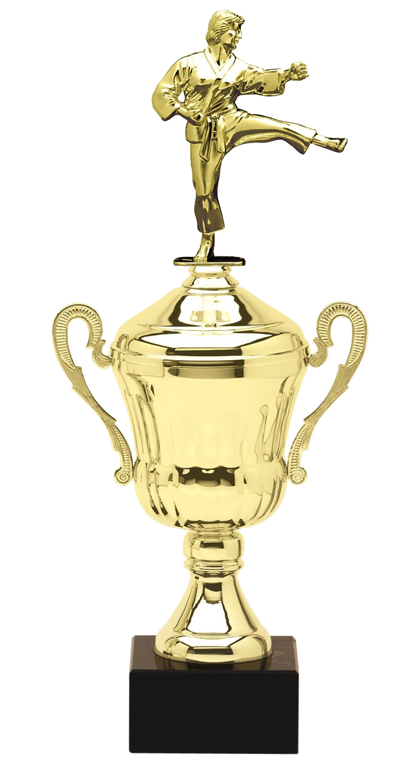Metal Female Martial Arts Trophy Cup on Marble Base in (3 - Sizes)