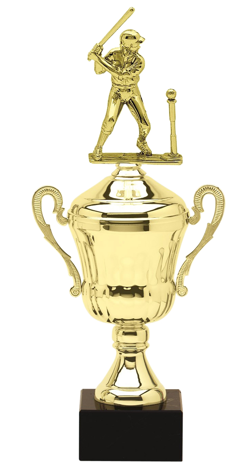 Metal Female T-Ball Trophy Cup on Marble Base in (3 - Sizes)
