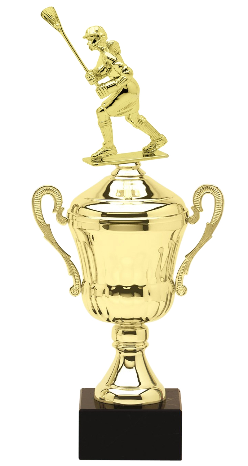 Metal Female Lacrosse Trophy Cup on Marble Base in (3 - Sizes)
