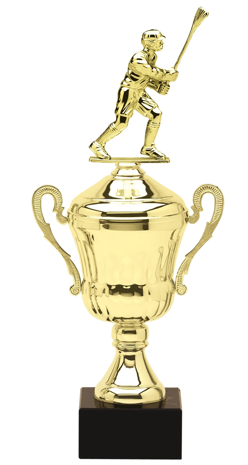 Metal Male Lacrosse Trophy Cup on Marble Base in (3 - Sizes)