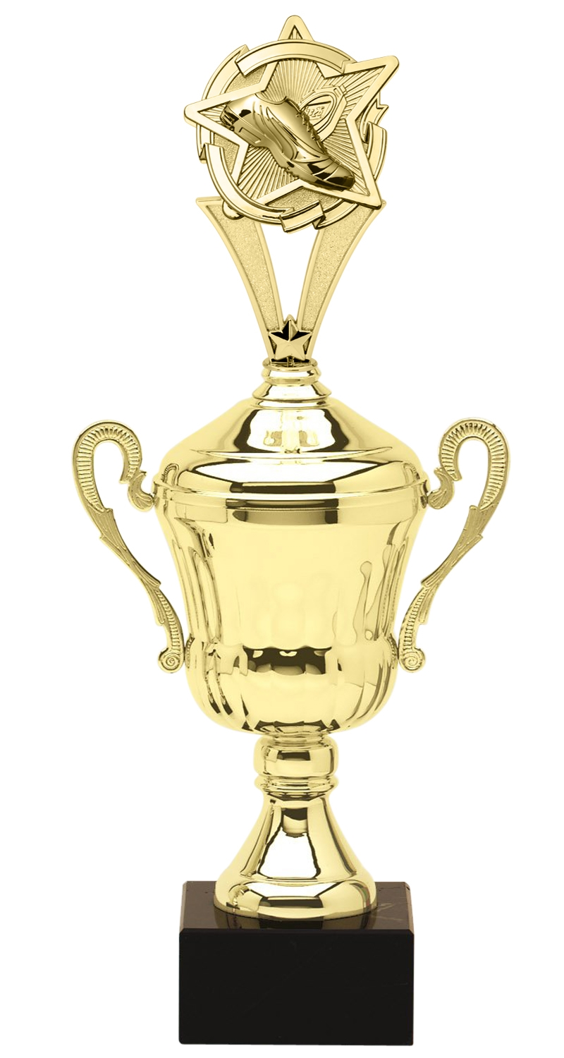 Metal Track Trophy Cup on Marble Base in (3 - Sizes)