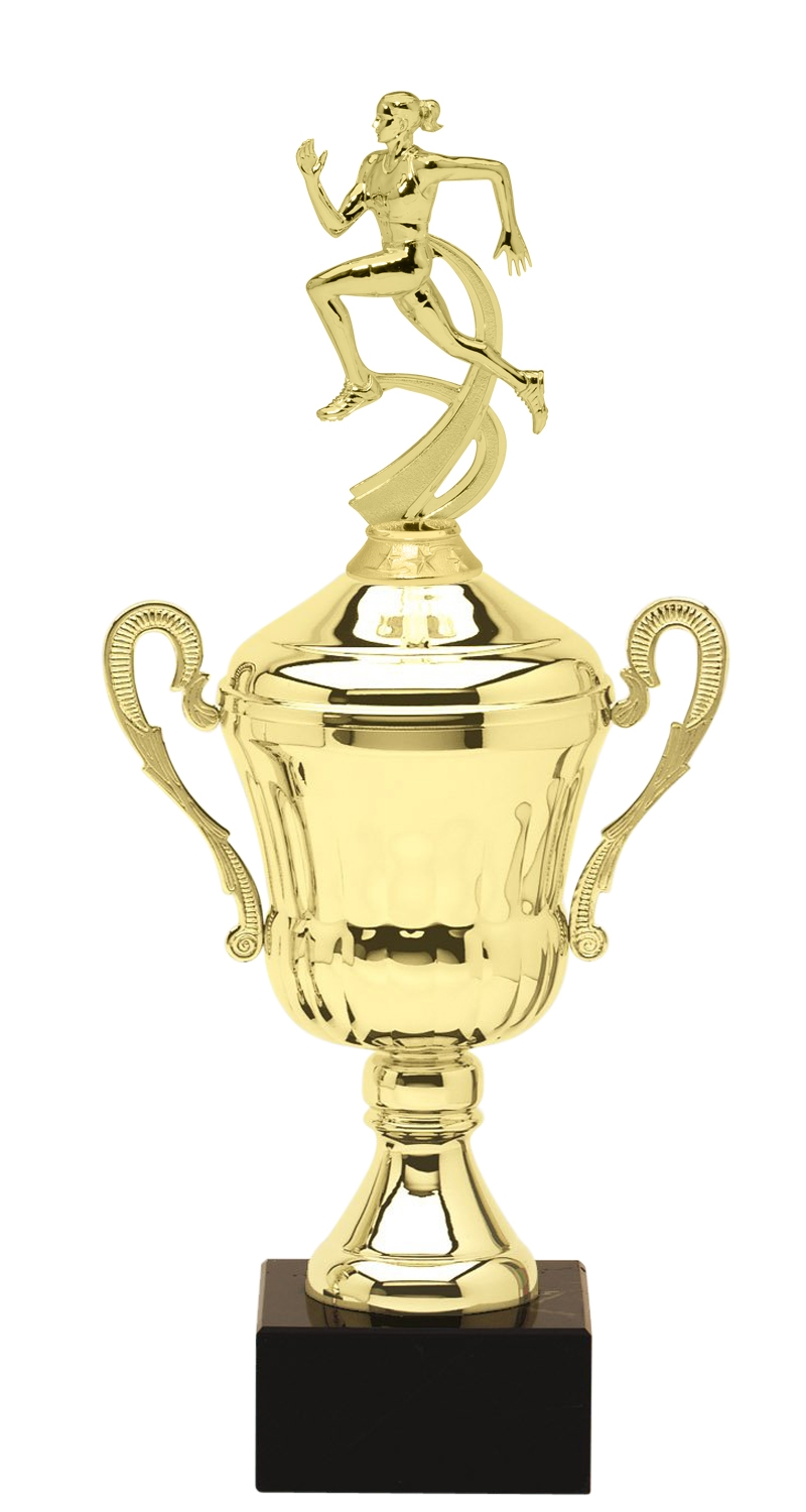 Metal Women Running Trophy Cup on Marble Base in (3 - Sizes)